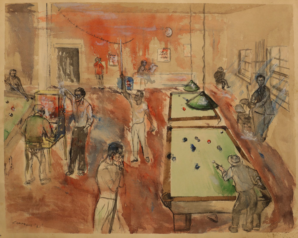Pool Hall, Passaic 1961 graphite and watercolor on paper 19 x 24 in. William Campbell