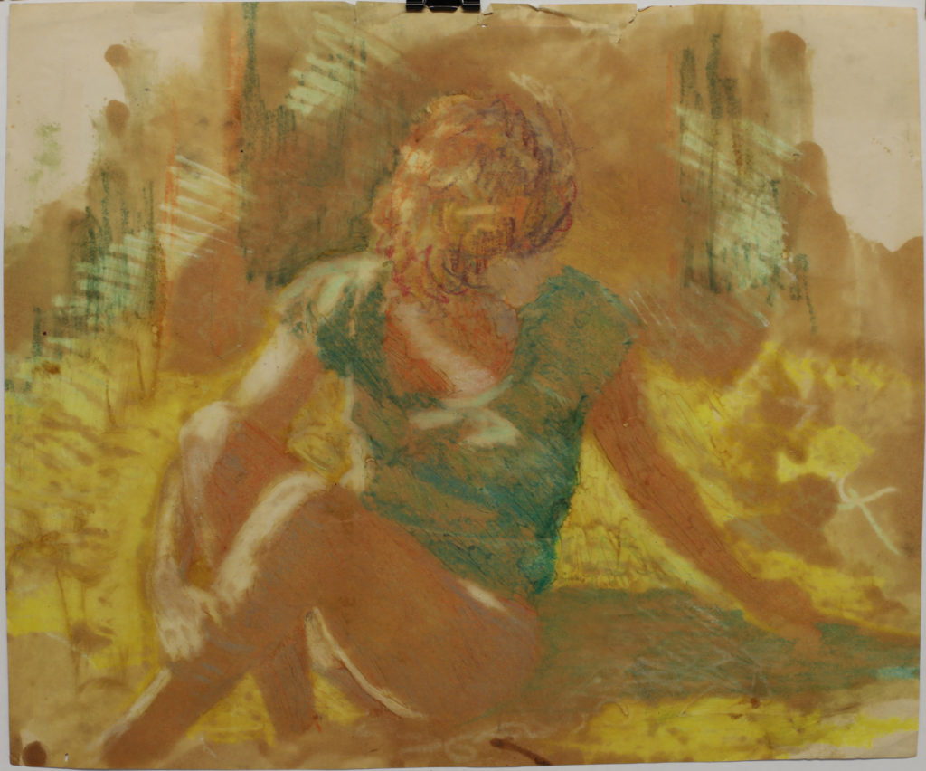 Woman in green shirt and yellow light, date unknown, mixed media on paper 13 x 15 3/4 in.